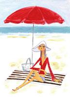 浜辺、パラソルの下でくつろぐ女性