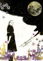 月と女の子 20041000380| 写真素材・ストックフォト・画像・イラスト素材|アマナイメージズ