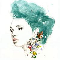 花のピアスの女の子