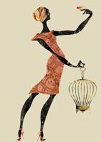 鳥かごを持つ女性