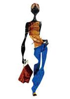 ブルーのパンツ姿の女性 20041000387| 写真素材・ストックフォト・画像・イラスト素材|アマナイメージズ