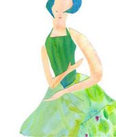 緑の服の女性