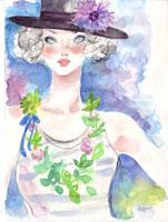 花と緑の帽子の女性