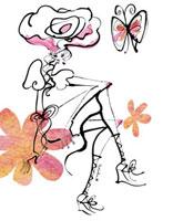 花と蝶の女性 20041000407  写真素材・ストックフォト・画像・イラスト素材 アマナイメージズ