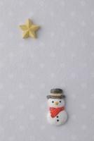 薄いグレー地に白の水玉模様の上に雪だるま