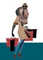 ショッピングするファーコートの女性