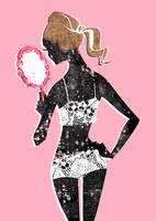 手鏡を覗くレースの下着の女性 20041000459| 写真素材・ストックフォト・画像・イラスト素材|アマナイメージズ