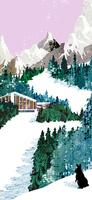 雪山のスキーリゾートと黒ウサギ 20041000461| 写真素材・ストックフォト・画像・イラスト素材|アマナイメージズ