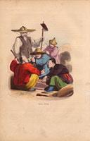 Chinese men seated smoking