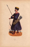 Kalmyk man with bow and arrows