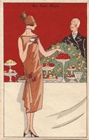Woman in beige crepe dress