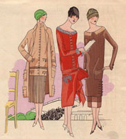 Women in wool afternoon dresses
