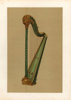 Pedal harp in green and gold