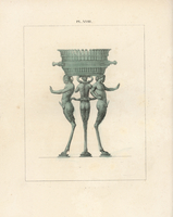Bronze tripod with three Pan figures