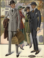 Men in suits and spats with overnight bag