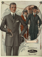 Men in suits with cane and hat