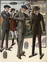 Men in belted jacket suits