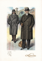 Men in coats and hats with bag
