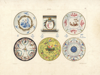 Plates with cupid, birds and flowers.
