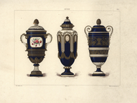 Vases with roses, cameos and frieze