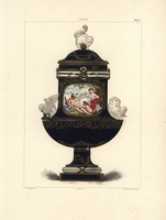 Vase with classical painting and animals