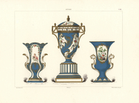 Vase with clock dial, cupids and birds
