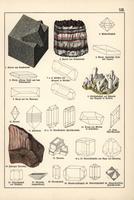 Fluorite, celestine, fibrous rock salt, etc.