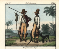 Brazilian slaves with hunting dogs and muskets.
