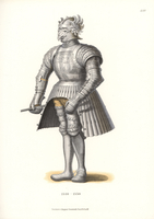 Suit of steel armour with bird helm.