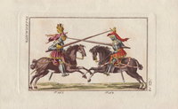 Mounted knights jousting with lances.