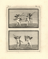 Cupids dancing with musical instruments.