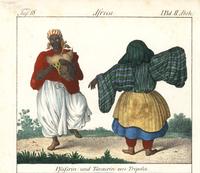 Woman dancer and bagpiper, Tripoli.