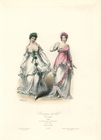 Dancers in neo-classical ball gowns.