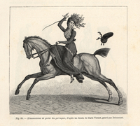 Woman horse riding side-saddle.