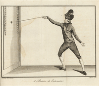 Fencer thrusting at a target on the wall.