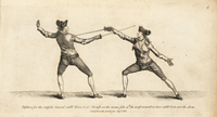 Fencers in tierce and carte positions.
