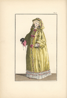 Woman in taffeta hooded cape with mask.
