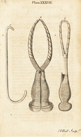 Smellie's surgical forceps and hook.
