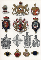 Heraldic crests, rings and brooches.