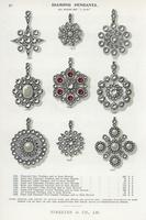 Diamond pendants and brooches.