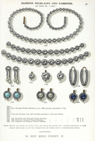 Diamond necklaces and earrings.