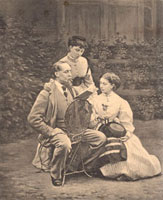 Charles Dickens with his two daughters