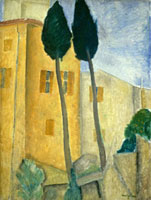 Cypress Trees and Houses,c. 1919