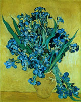 Still Life with Irises Against a Yellow Background