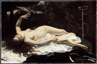 Lying naked woman holding bird by Gustave Courbet, oil on ca