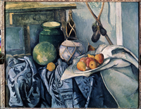 Still life with fruits and jugs by Paul Cezanne, oil on canv