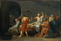 Death of Socrates by Jacques Louis David, oil on canvas, 178