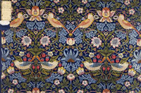 Strawberry Thief furnishing fabric, by William Morris. Lond