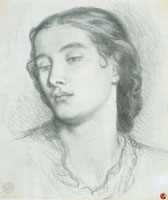 Study of a woman's head, by Rossetti. England, 19th century