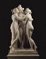 The Three Graces, by Antonio Canova. Italy, early 19th cent